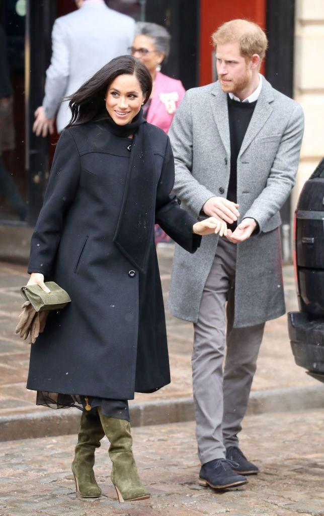 Meghan Markle wearing a '60s ashmere swing coat