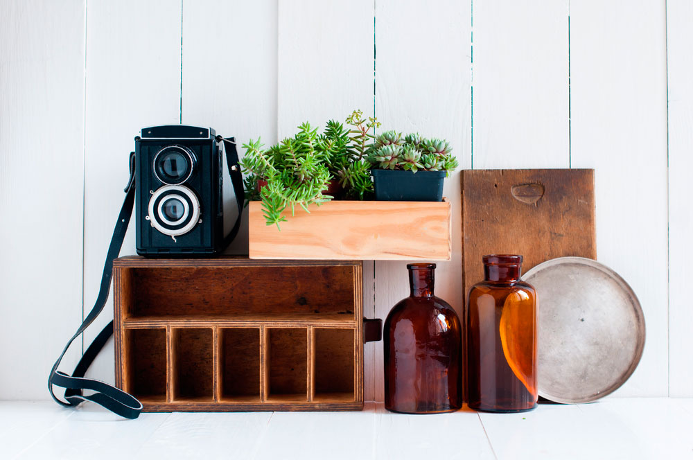 Wooden boxes decorated in vintage style